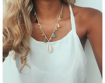 FREE SHIPPING - Big cowrie necklace with tassels