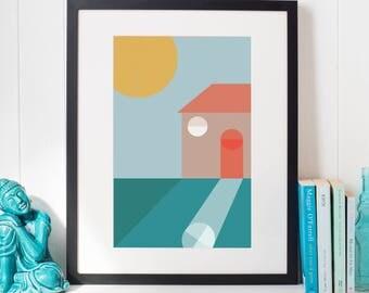 Abstract Home Print Housewarming Gift House Print A3 Wall Art A4 Wall Art