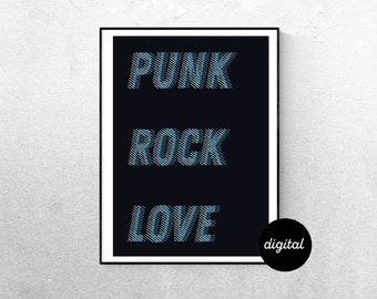 Punk Rock Love pop art modern Digital Download Art Print Housewarming Gift, New home gift, Music Room Decor Punk Wall Art