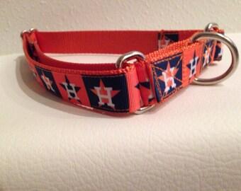 Martingale Dog Collar, Size Large Orange Martingale Collar, Large Orange Astros Martingale Dog Collar, Large Adjustable Astros Dog Collar