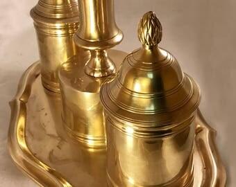 Vintage Brass Ethan Allen Inkwell Desk Set w/ Candlestick & Wax Holder