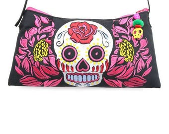 Vintage Skull Embroidered Cross Body Bag with Leather Strap