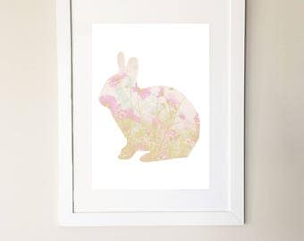 Woodland Rabbit - Flower Photo Digital Print