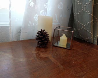 Small Stained Glass Candle Holder - Copper - Display Box- Cube - Mirror