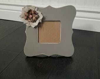 Photo Frame | Homemade Wooden Frame | Picture Frame | Table Top Frame | Home Decor | Fabric Flower