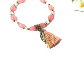 Bracelet Beaded Pink - Tassel and Leaf Pendant - Beaded Bracelet - Jewelery - Gift - Friendship Bracelet - Festival Bracelet - Boho Bracelet