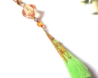 St. Patrick's Day necklace - Green Necklace - Gold Necklace - Orange Necklace - Necklace with Tassel - Gift for her - Gift for women