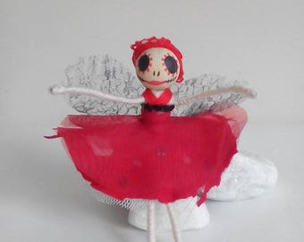 Day of the Dead Fairy, dead fairy, zombie fairy, flower fairy, fairy ornament, day of the dead doll, flower fairy, dead doll