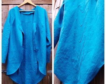 Linen jacket in emerald green / loose fit linen jacket / flax coat / minimalist linen jacket / linen coat /linen blazer /long sleeves jacket