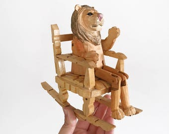 Handmade Peg Dolls Chair - Bohemian Boho Eclectic Decor Home - baby child girl nursery room toy - rocking furniture wood dollhouse #0405