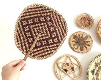 Vintage woven geometric fan - wall decor - Bohemian Boho Jungalow Eclectic style home decor - tribal cane fan #0767