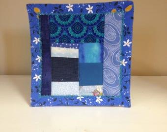 Blue Scrappy #1 Mug Rug Coaster Mini Quilt Wall Art Handmade Quilted