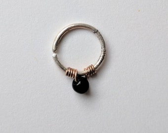 Silver Septum/Daith Ring With Black Glass Bead