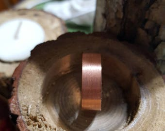 "Solid Copper ""BRUSHED"" Band Ring sizes 6 - 13 Width 6mm, 8mm, 10mm or 12mm"