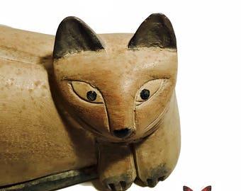 Adorable Vintage Wooden Kitten Sculpture