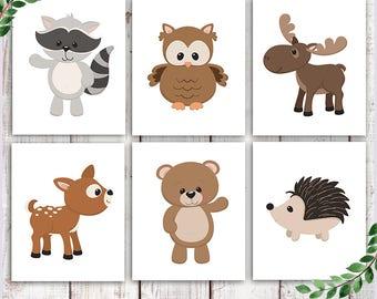 Woodland Animals Nursery Decor, Woodland creatures, Deer Raccoon Owl Bear Moose Hedgehog, Woodland nursery, forest animals, kids room decor