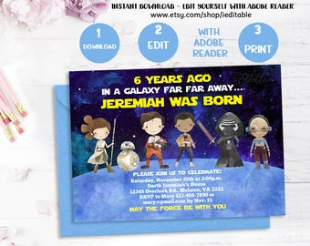 Galaxy wars invitation, Star Wars birthday Invitation, 1st birthday invitation templates, INSTANT DOWNLOAD Editable invitation