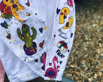 White denim hand-painted jacket