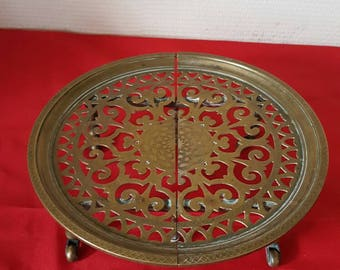 Art nouveau adjustable brass trivet