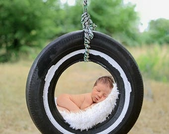 Newborn Digital Backdrop Background Tire Swing Country Outside Simple Photography Prop Composite