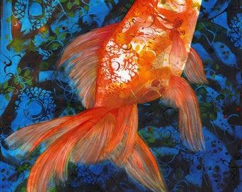 Midas Rising - Michelle Gilks goldfish fish pet blue orange art print