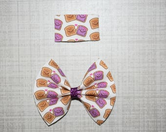 Grape PB& J time Bow or snap clip (you pick)