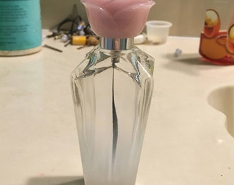 Empty Pink Rose Perfume Bottle