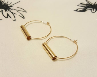Gold Hoop Earrings, Silver Hoop Earrings, Large Hoop Earrings, Thin Hoop Earrings, Gold Tube Earrings, Geometric Earrings, Large Thin Hoops