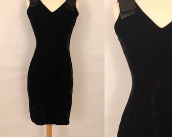 80s Black Velvet Party Dress Vintage Mini Wiggle Dress