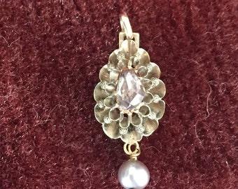 Victorian rose cut diamond solitaire pendant