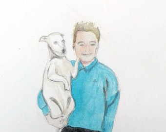 Custom little portrait of you and your dog. Or without your dog. This is an example and is Dan and Lila