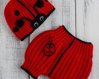Ladybug Hat Diaper Cover Crochet Set Newborn Photo Prop Baby Boy Girl Newborn 0-3