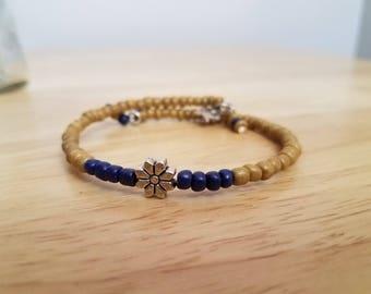 Sunflower Bloomed Memory Wire Bangle Bracelet Coil Wrap Multicolor Design Handmade Earth Tones