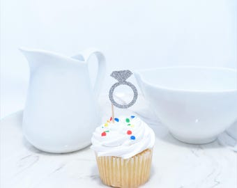 Ring Cupcake Toppers (12 ct), Engagement party toppers, Bridal Shower Cupcake Toppers, Bridal Shower Decor, Cupcake Toppers, Wedding Cupcake