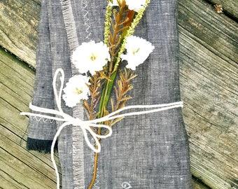 Soft Gray Natural Fringed edges Napkins. 100% Organic Natural Linen. Classic Gray Cloth Napkins. Set of 2,4,6 or 8