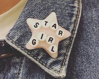 """Pink """"Star Girl"""" Pin"""