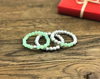 Stackable Bracelets | Howlite Bracelets, Green Bead Bracelets, Set of Three Beaded Bracelets | Howlite Stone Bracelets For Less