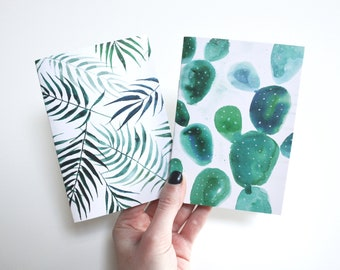 Leaf print Diary journal Palm tree Tropical gift Cactus decor Botanical painting Green notebook Small cacti Set of 2 journals Palm book