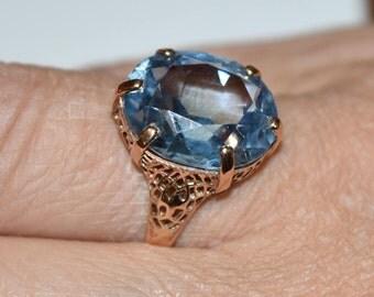 14K Aquamarine Ring-8 ct Aquamarine Ring-Rose Gold-Aquamarine Gemstone-