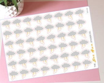 Small Stormy Weather Planner Stickers - Decorative Weather Tracking Thunder and Lightning Bullet Journal Handmade Stickers Icons