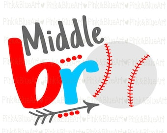 Middle bro baseball SVG Clipart Cut Files Silhouette Cameo Svg for Cricut and Vinyl File cutting Digital cuts file DXF Png Pdf Eps