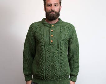 Vintage Green Knit Sweater / Mens Medium Wool Pullover by Great Northern Knitter / Made in Canada