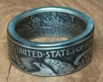 Silver Half Dollar coin Ring Walking Liberty Ben Franklin