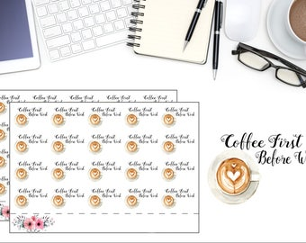 Coffee Planner Stickers, But First Coffee, Latte Date Planner Sticker, I Love Coffee Sticker, Scrapbook Sticker, Planner Accessory