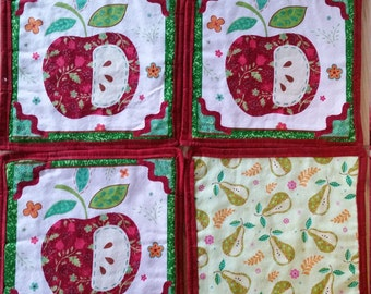 Quilted Pot Holders, set of four