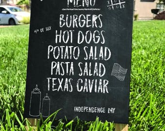 Chalk Board 4th of July Barbecue Signs