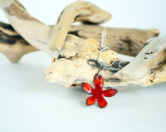 Red Enamel Flower Pendant Necklace