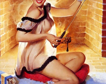 Poster pin up lingerie fireplace in A2 format. Gil Elvgren