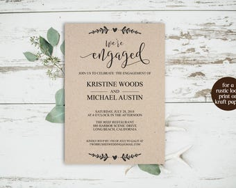 We're Engaged, We're Engaged Invitation, Engagement Party, Printable Invitation, Engagement Invite, Engagement Announcement, Editable, 6059
