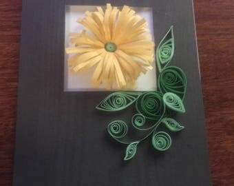 Quilled yellow flower blank greeting card; Mother's Day, birthday, thinking of you.